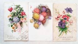 Régi képeslap 3 db virágos őszirózsás üdvözlőlap 1921