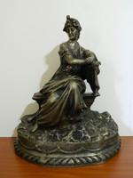 Auguste Moreau ezüstözött bronz szobor SZIGNÓZOTT