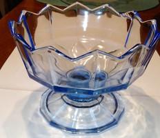 Nagyon nehéz, vastag kék kehely formájú üveg asztalközép, cukorkatartó, tál