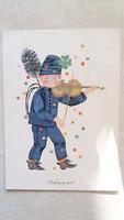 Régi képeslap újévi kéményseprős retro levelezőlap