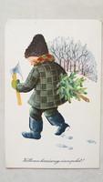 Régi karácsonyi képeslap 1966 fenyőfás levelezőlap