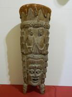 Antik 1750-1800-as évek kézi faragású Afrikai törzsi dob