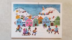 Régi karácsonyi képeslap 1983 havas táj retro levelezőlap