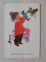 Régi karácsonyi képeslap 1960 kislány játékok levelezőlap