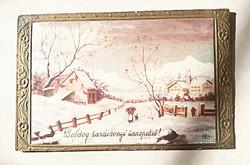 Régi karácsonyi képeslap 1942 havas vidéki táj levelezőlap