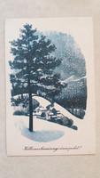 Régi karácsonyi képeslap havas táj levelezőlap