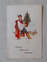 Régi karácsonyi képeslap 1939 magyaros népviseletes levelezőlap