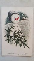 Régi karácsonyi képeslap hóember fenyőfa levelezőlap