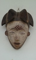 Antik patinás punu népcsoport afrikai maszk Afrika Gabon dob9