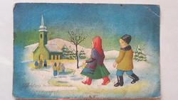 Régi karácsonyi képeslap templom havas táj népviseletes levelezőlap