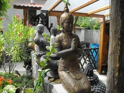 Thai földi nagy Buddha  65cm Antik bronz színben Feng shui Japán kerti  keleti kertépítő kő szobor
