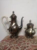 Neo rokokó ezüst teáskanna cukortartó 950g csavart elegáns forma aranyozva