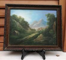 Szép aprólékos tájkép, miniatűr stílusban.M. L. Monogram.  Alpesi, Osztrákos, Tátra, Havasok stílus.