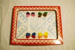 Hímzésminta gyerek játék előrajzolt hímezhető kakas kis terítő 17 x 17 cm 3db. 10.