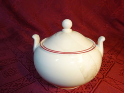 Minőségi angol porcelán cukortartó, barna szegéllyel, magassága 9 cm.