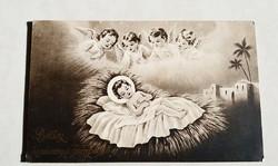Régi karácsonyi képeslap angyalos Jézus jászolban vallási levelezőlap