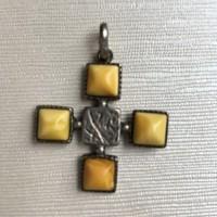 Retró ezüst függő sárga vaj borostyán medál