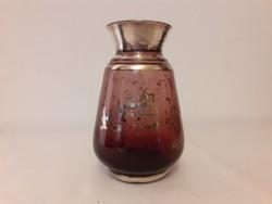 Papillon technikával ezüstözött antik üveg váza