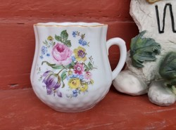 Gyönyörű Zsolnay virágos hasas bögre . Nosztalgia, Paraszti dekoráció