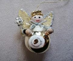 Kézműves angyalka, függeszthető karácsonyfadísz