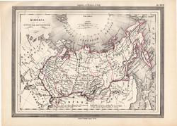 Szibéria térkép 1861, olasz, eredeti, atlasz, Oroszország, Ázsia, észak, Kamcsatka, orosz