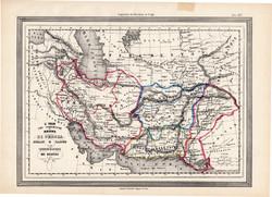 Perzsia, Irán térkép 1861, olasz, eredeti, atlasz, Ázsia, Herat, Kabul, XIX. század