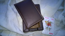 Új  bőrdoboz kártyával-íróasztalra tartónak-ajándékba is