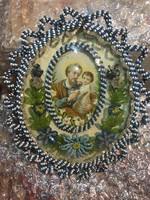 Szép régi, gyöngyös szélű szentkép falikárpit felhaszn.