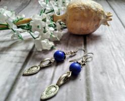 KÉZMŰVES ÚJ ásvány fülbevaló Lapis lazuli ásvánnyal