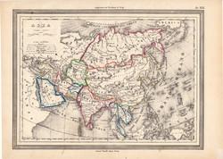 Ázsia térkép 1861, olasz, eredeti, atlasz, Kína, India, Indokína, Perzsia, Tibet, Himalája, Arábia