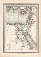Ókori Egyiptom, Palesztína, Fönícia térkép, kiadva 1861, olasz, eredeti, atlasz, történelmi, Arábia