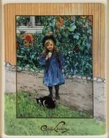 1C562 Jelzett GOEBEL Carl Larsson kislány cicával keretezett porcelán kép LIMITÁLT SZÁMOZOTT!!