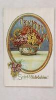 Régi képeslap 1942 medalionos virágcsokros levelezőlap
