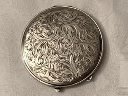 Szecessziós, gyönyörű ezüst pudrie, púdertartó
