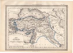 Törökország ázsiai része térkép 1861, olasz, eredeti, atlasz, Ázsia, Közel - Kelet, XIX. század