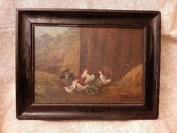 Szignózott olaj festmény: Baromfi udvar