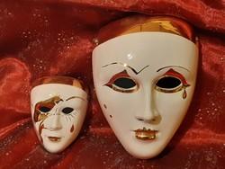 2 db mázas hibátlan kerámia karneváli álarc, mask