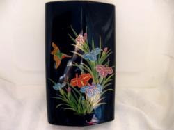 Kínai vagy japán íriszes, madaras fekete váza