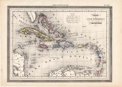 Nyugat - Indiai - szigetek térkép 1861, olasz, eredeti, atlasz, Amerika, Antillák, Kuba, Bahamák