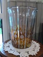 Csiszolt Bohémia ólom kristály váza borostyán színnel