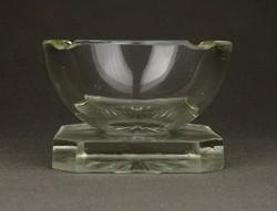 1C600 Régi art deco vastagfalú üveg design hamutál