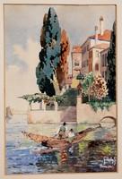 Székely: Fiume, 1912 - Halászcsónak tengerparti házzal