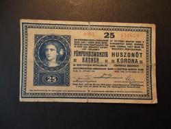 25 korona 1918 * üres hátlap