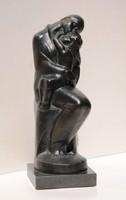 Gallas Nándor (1893-1949): Anya gyermekével, bronz szobor gránit talpon