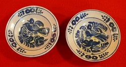 2 db kék mázas korondi madaras tányér együtt eladó, 20 cm