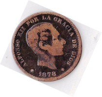 Spanyolország forgalmi pénzérme 1878