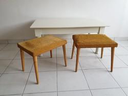 Retro régi kárpitozott mid century ülőke szék zsámoly