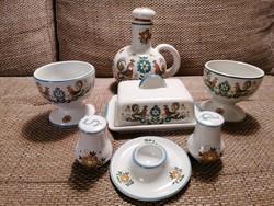 Madaras és virágos mintájú Ulmer (holland) kerámia reggeliző, illetve asztali készlet. Gyönyörűszép!
