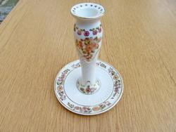 Zsolnay gyertyatartó (hibátlan, jelzett, kézzel festett, újszerű, 15cm.)