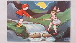 Régi képeslap Margret Boriss rajza 1933 gyerekek a patakparton